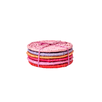 Set of 6 Assorted Red & Pink Raffia Drink Coasters Rice DK