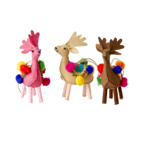 Reindeer Christmas Ornaments with Pom Poms By Rice DK
