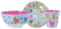 Chicken Print Melamine Cup, Plate & Bowl Set Rice DK