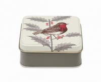 Holly & Robin Print Small Square Tin Thornback & Peel