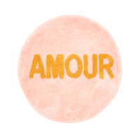 Round Floor Mat in Coral Pink with the word AMOUR By Rice DK