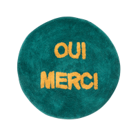 Round Floor Mat in Jade with the words OUI MERCI By Rice DK