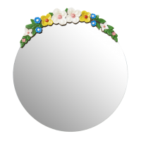 Round Mirror With Wooden Flower Decoration By Rice DK