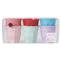 Set of 6 Extraordinary Colours Melamine Cups Rice DK