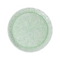 Sage Green Enamel Embossed Round Tray By Rice DK