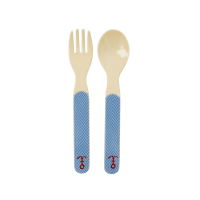 Kids Melamine Spoon & Fork Set Blue Sailor Stripe by Rice DK
