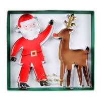 Santa and Reindeer Shaped Cookie Cutters By Meri Meri