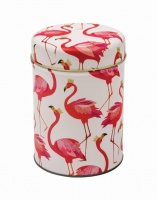 Sara Miller Pink Flamingo Print Round Tin Caddy
