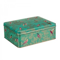 Green Bird Print Deep Rectangular Tin by Sara Miller