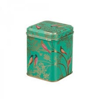 Green Bird Print Small Square Tin by Sara Miller
