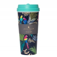 Sara Miller Tropical Parrot Print Thermal Travel Cup