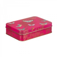 Pink Butterfly Print Small Rectangular Tin by Sara Miller