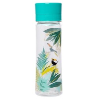 Green Tropical Toucan Print Clear Water Bottle By Sara Miller