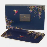 Navy Blue Hummingbird Print Trinket Tray By Sara Miller London