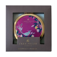 Pink Songbird Print Compact Cosmetic Mirror By Sara Miller London