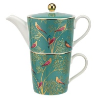Green Bird Print Tea For One Set Sara Miller London