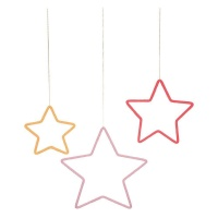 Set of 3 Hanging  Wool Wrapped Wire Stars By Meri Meri