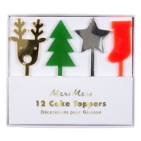 Festive Acrylic Cake Toppers Set of 12 By Meri Meri