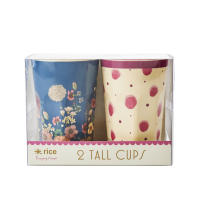 Set of 2 Tall Melamine Cups Watercolour Splash & Flower Collage By Rice DK