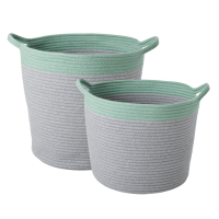 Round Rope Grey and Green Storage Baskets By Rice DK