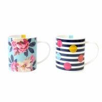 Set of 2 Mugs By Joules in Birch Blossom & Stripes