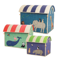 Set of 3 Colourful Animal Theme Raffia Toy Storage Baskets Rice DK