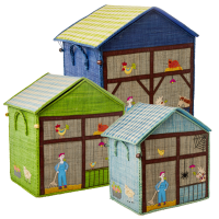 Set of 3 Raffia Toy Baskets Farm Theme by Rice DK
