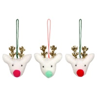 Set of 3 Reindeer Felt Christmas Tree Decorations By Meri Meri