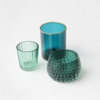 Set of 3 Glass Tealight Holders By Caroline Gardner