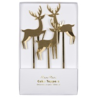 Set of 3 Gold Reindeer Cake Toppers By Meri Meri