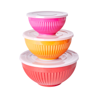Melamine Stacking Storage Bowls Set of 3 Red, Tangerine Orange, Fuchsia Pink By Rice DK