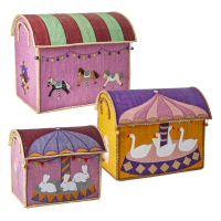 Set of 3 Colourful Carousel Theme Raffia Toy Storage Baskets Rice DK