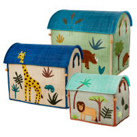 Set of 3 Jungle Animal Theme Raffia Toy Storage Baskets in Blue By Rice DK
