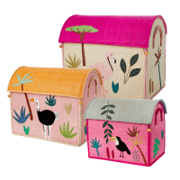 Set of 3 Jungle Animal Theme Raffia Toy Storage Baskets in Pink By Rice DK