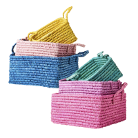 Set of 3 Square Storage Baskets in Assorted Colours Rice DK