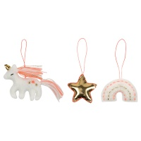 Set of 3 Magical Felt Christmas Tree Decorations By Meri Meri
