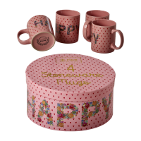 Set of 4 Pink Happy Printed Stoneware Mugs By Rice DK