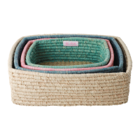 Set of 4 Raffia Storage Baskets By Rice DK