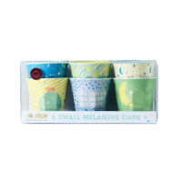 Set of 6 Small Melamine Cups Blue Universe Print Rice DK