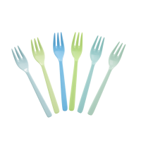 Set of 6 Melamine Forks In Blue and Greens Rice DK