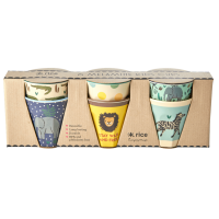 Set of 6 Small Kids Melamine Cups Blue Jungle Collection Rice DK