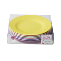 Set of 6 Melamine Plates in Girly  Colours Rice DK