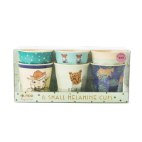 Set of 6 Small Kids Melamine Cups Farm Animals Green Print Rice DK