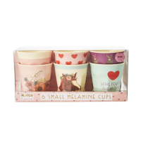Set of 6 Small Kids Melamine Cups Farm Animals Pink Print Rice DK