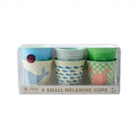 Set of 6 Small Melamine Kids Cups Blue & Green Ocean Life Print Rice DK