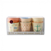 Set of 6 Small Melamine Kids Cups Pink & Coral Ocean Life Print Rice DK