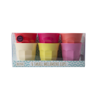 Set of 6 Small Sunny Coloured Melamine Cups By Rice DK