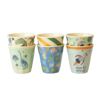 Set of 6 Small Kids Melamine Cups Dinosaur & Space Collection Rice DK