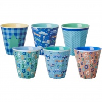 Set of 6 Small Kids Melamine Cups Boyish Prints By Rice DK