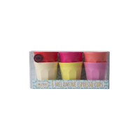 Set of 6 Melamine Espresso Cups in Bright Sunny  Colours by Rice DK